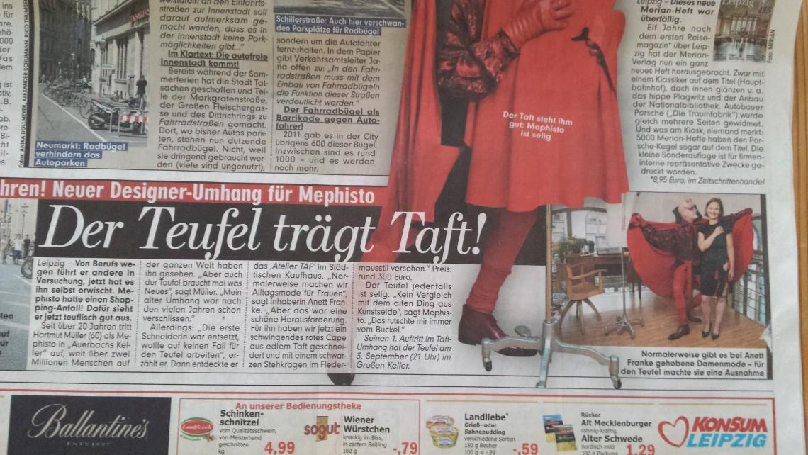 TAF-woman-Mephisto-Umhang-Sonderauftrag-Modedesign-Leipzig-Designerin-Anett-Franke-Bild-Zeitung-Artikel