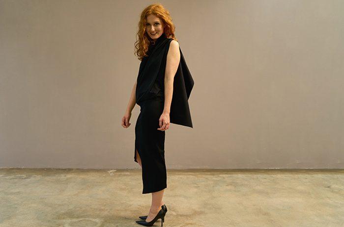 2017-couture-cocktail-kleid-abend-evening-design-geschlitzt-experimentell-jersey- Taf Woman01844